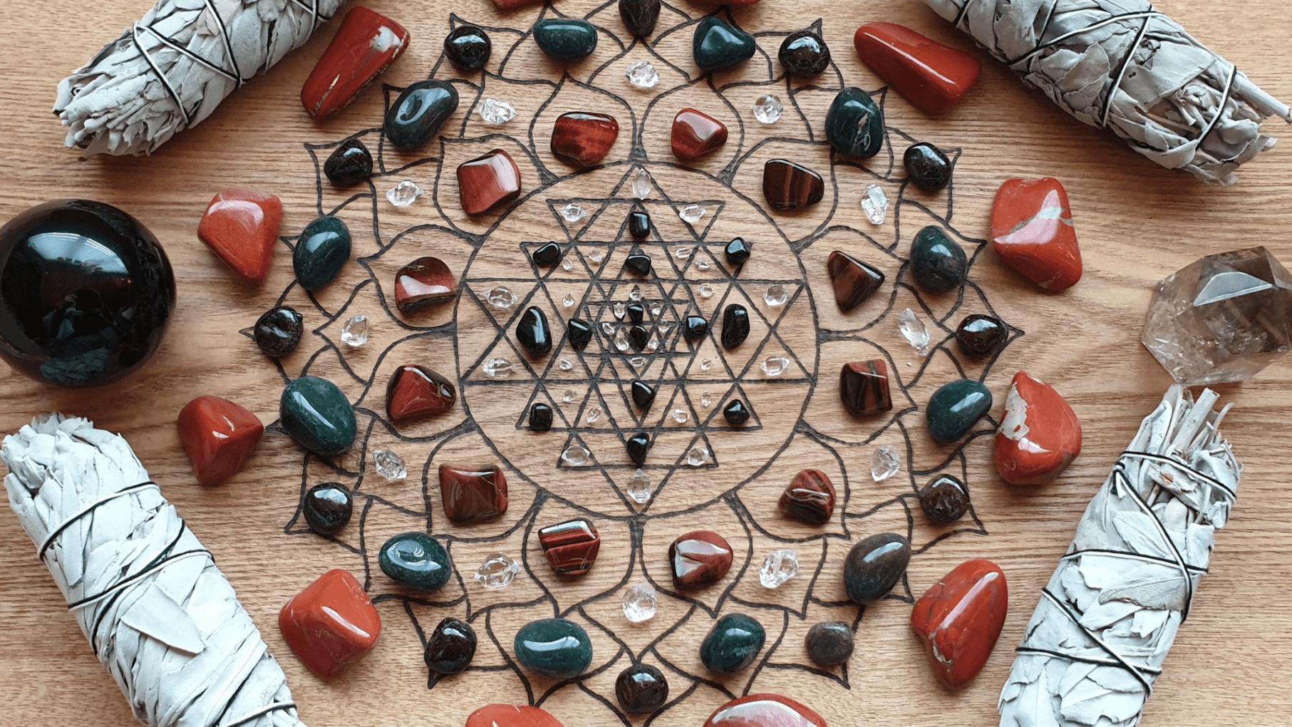 Base Chakra Crystal Grid